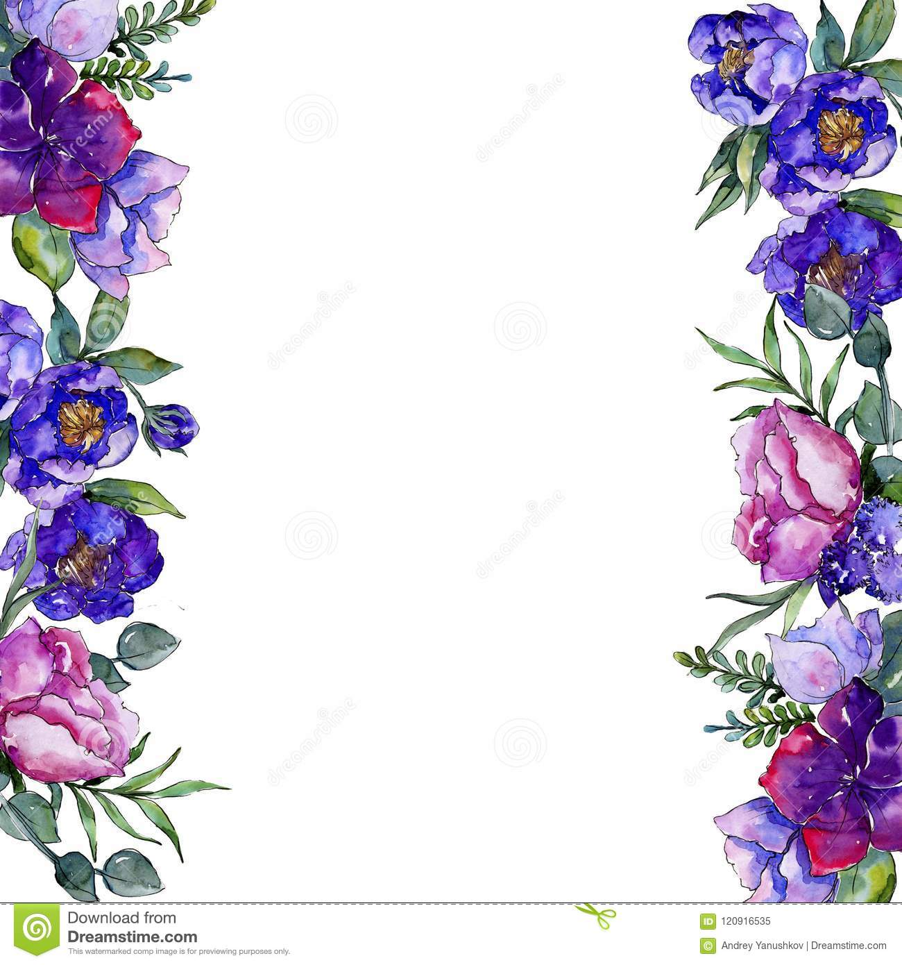 Blue bouquet flowers floral botanical flower frame border ornament blue bouquet flowers in a watercolor style frame border ornament square full name of the plant peony aquarelle wildflower for background texture izmirmasajfo