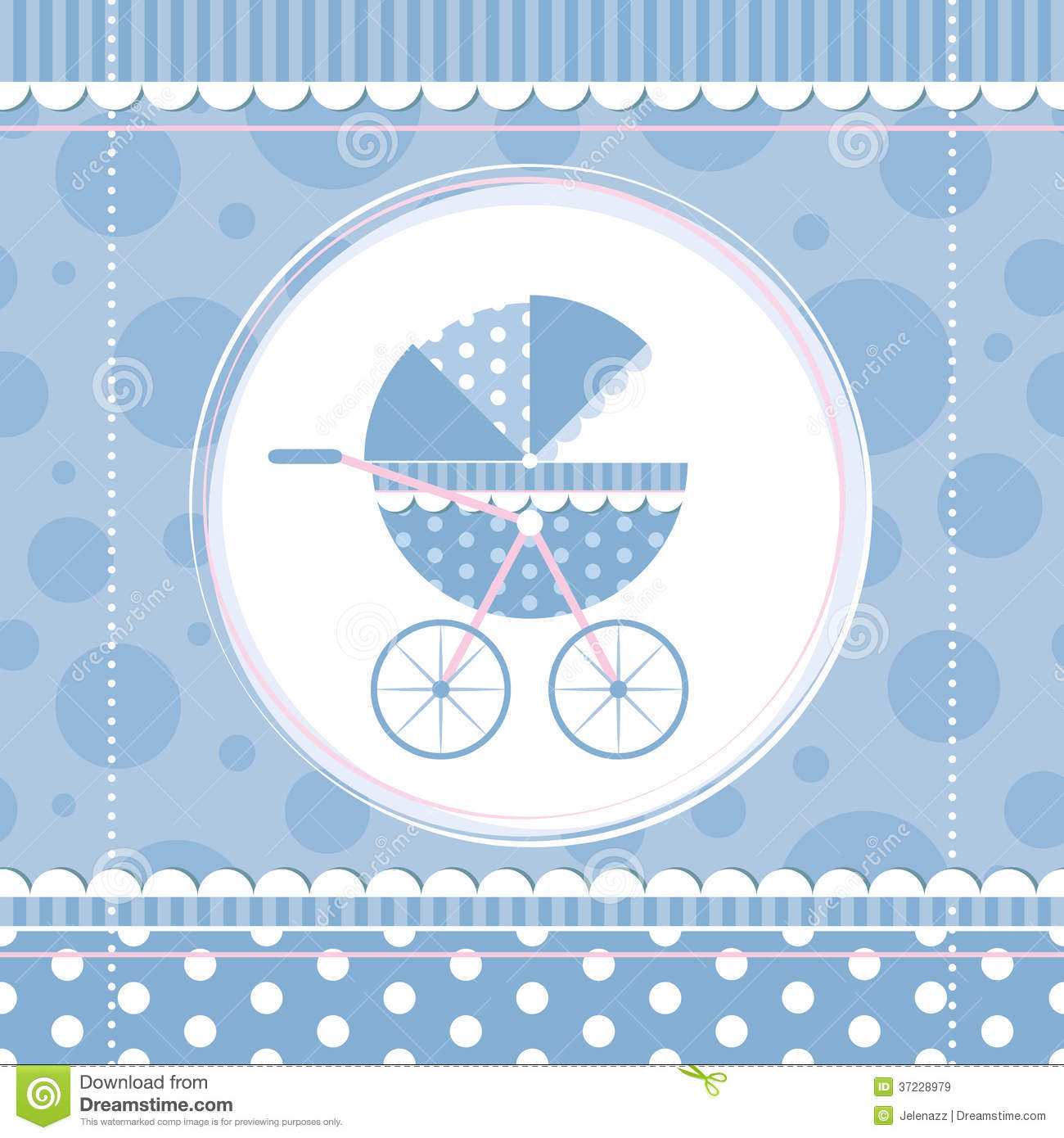 Blue Boy Baby Stroller Stock Vector Image Of Blue