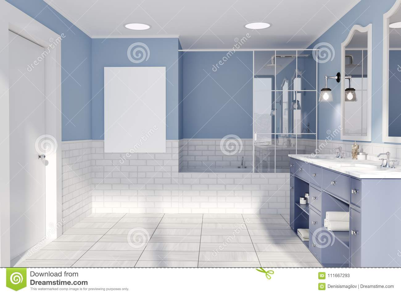 Blue And White Brick Bathroom Interior Idea A Tiled Wooden Floor A Double Sink With Original Mirrors And A Bathtub A Front View A Poster
