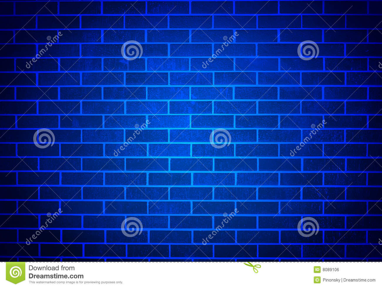 Blue Brick Wall with Soft Spotlight