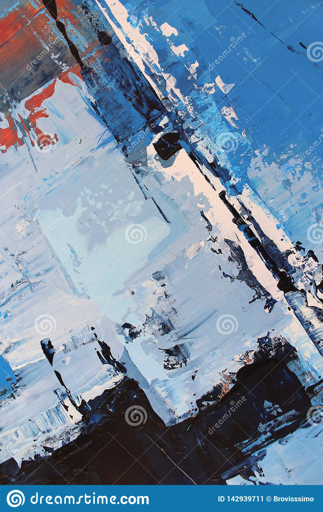 Blue bright colors on canvas.Oil painting. Abstract art background. Oil painting on canvas. Color texture. Fragment of artwork.
