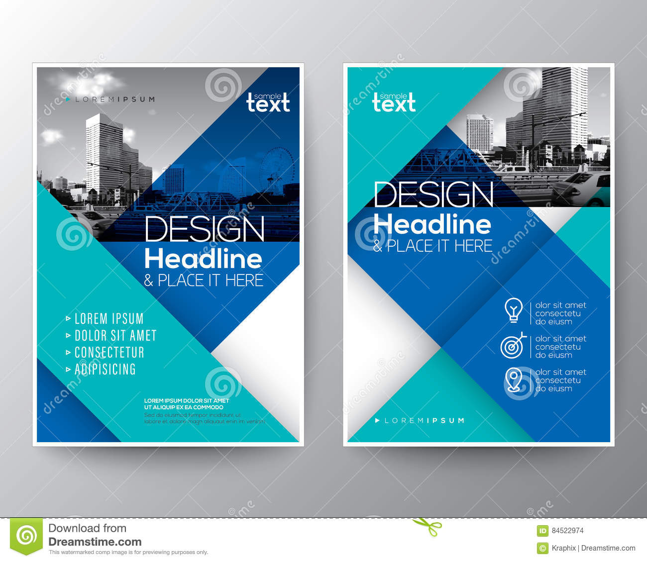 Download Blue Brochure Annual Report Cover Flyer Poster Design Layout Stock Vector