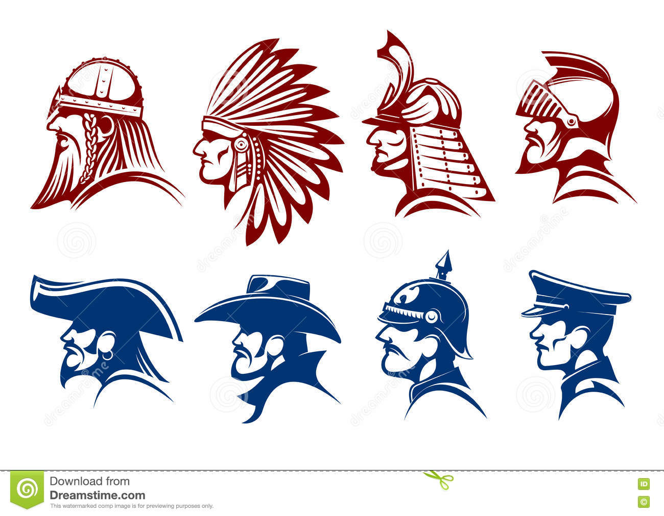 Blue and brown icons of warriors soldiers symbols stock vector blue and brown icons of warriors soldiers symbols buycottarizona Images