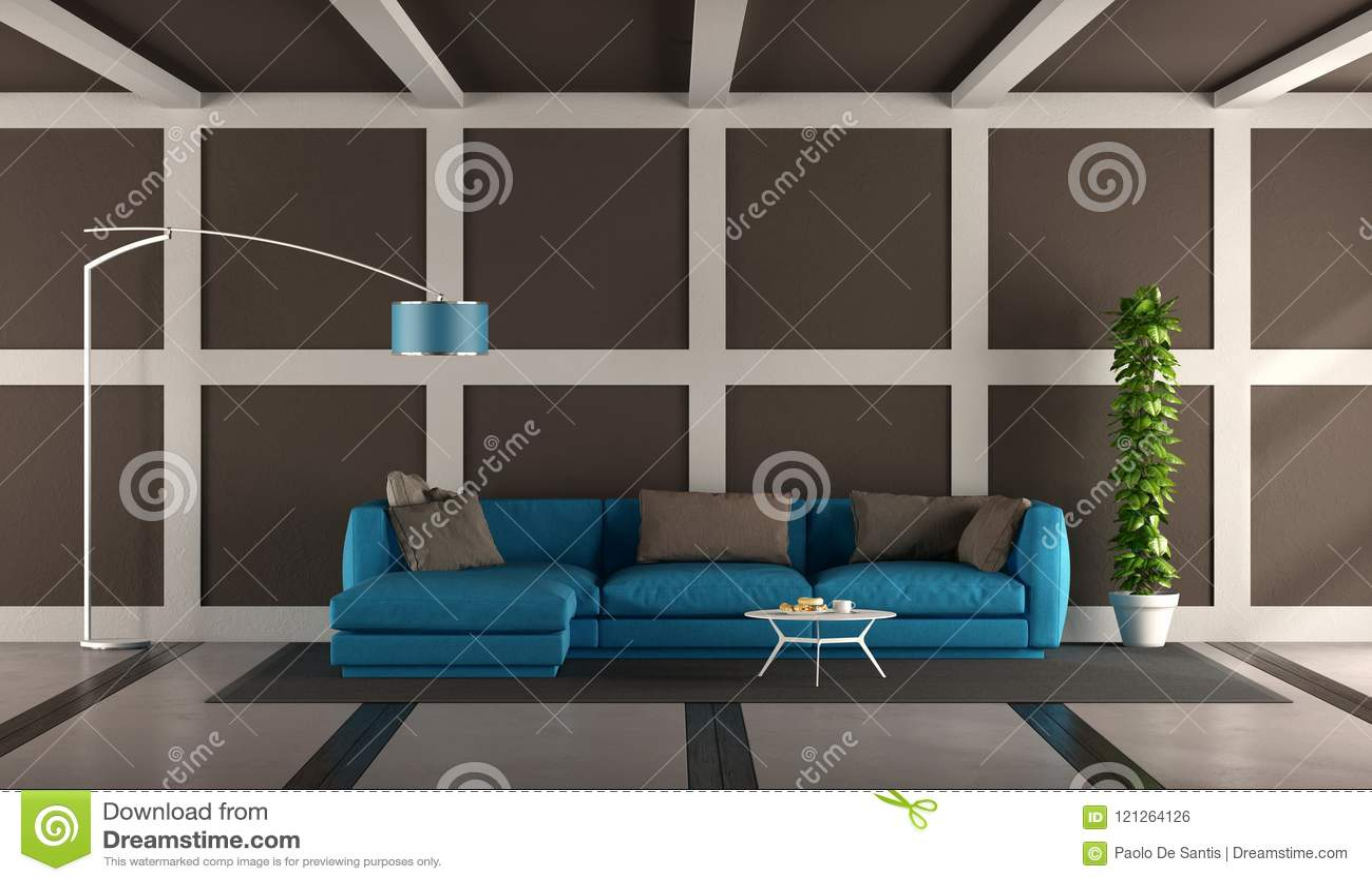 Blue And Brown Modern Living Room Stock Illustration