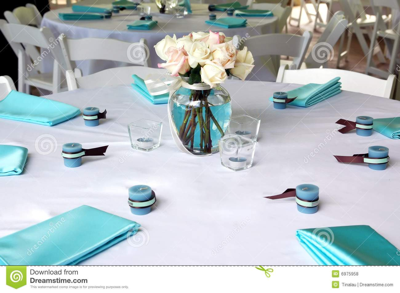 Blue Amp Brown Table Setting 2 Royalty Free Stock Photos