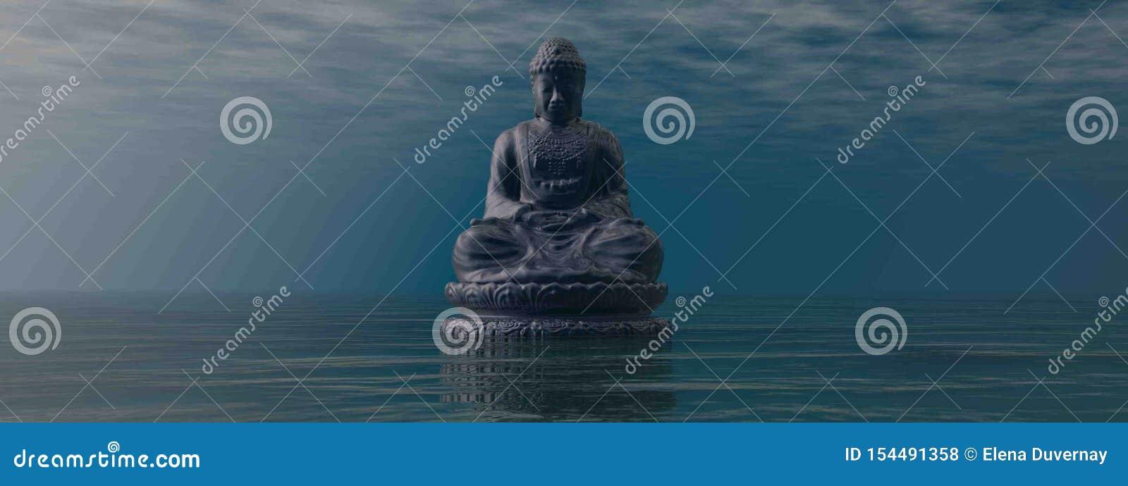Blue Buddha meditating by sunrise - 3D render