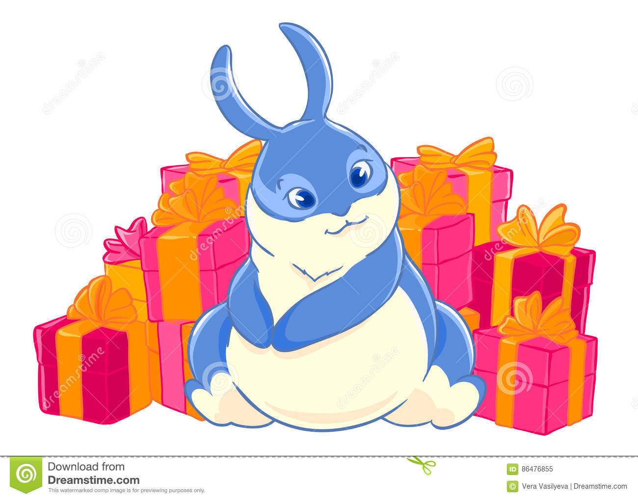 Blue Bunny Enjoys The Gifts Character Boxes With Bows Festive