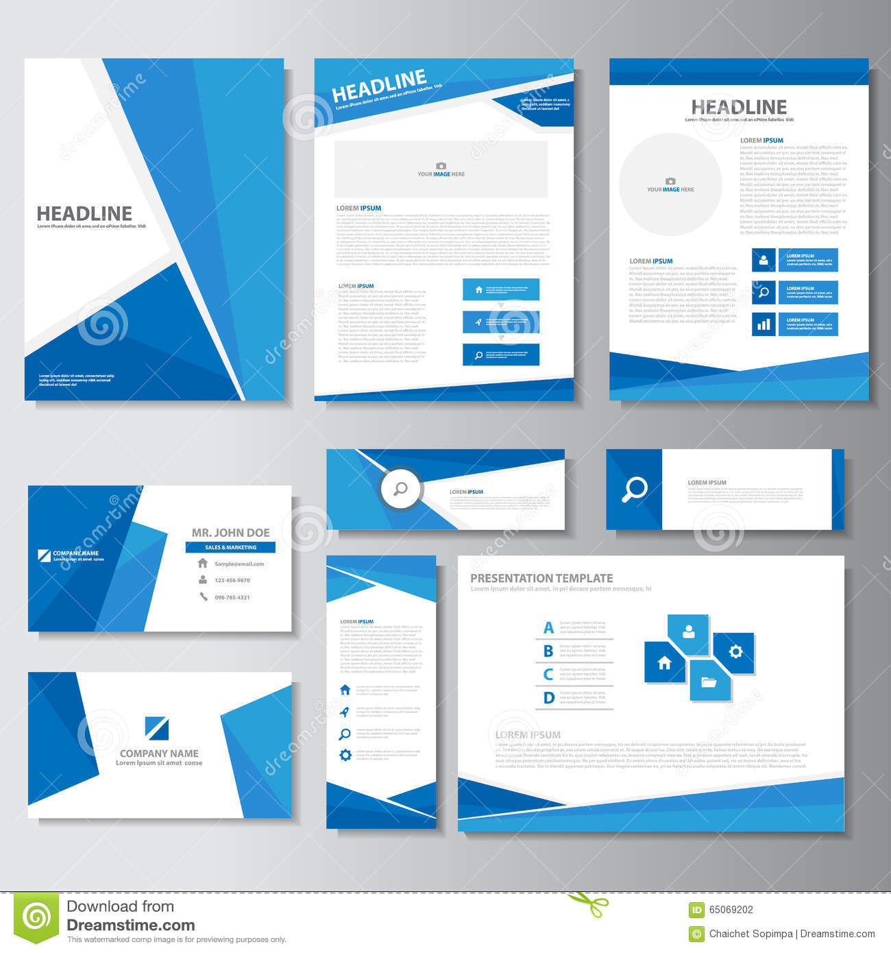 Blue Business Brochure Flyer Leaflet Presentation Card Template ...
