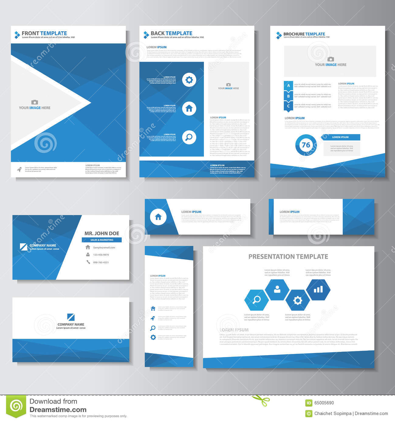 blue business brochure flyer leaflet presentation card template