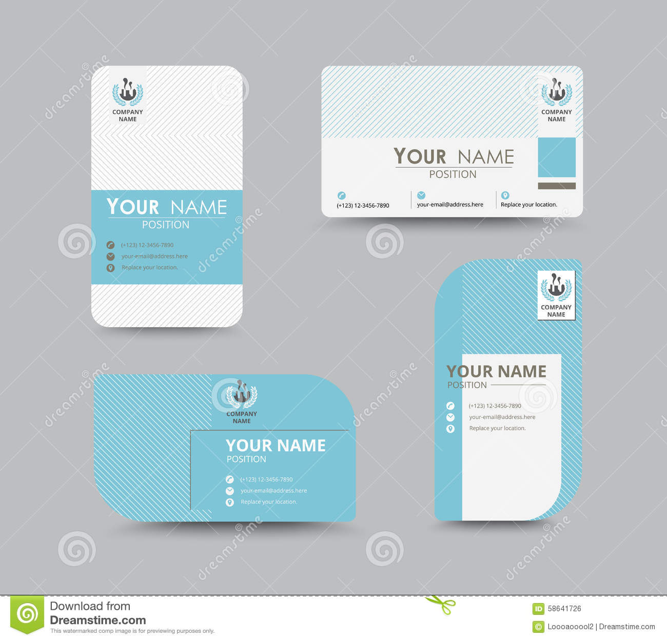 blue business contact card template design vector stock stock vector image 58641726. Black Bedroom Furniture Sets. Home Design Ideas