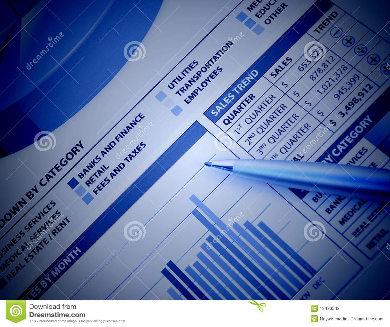 Business Finance: Blue Business Financial Chart Graph Stock Photography