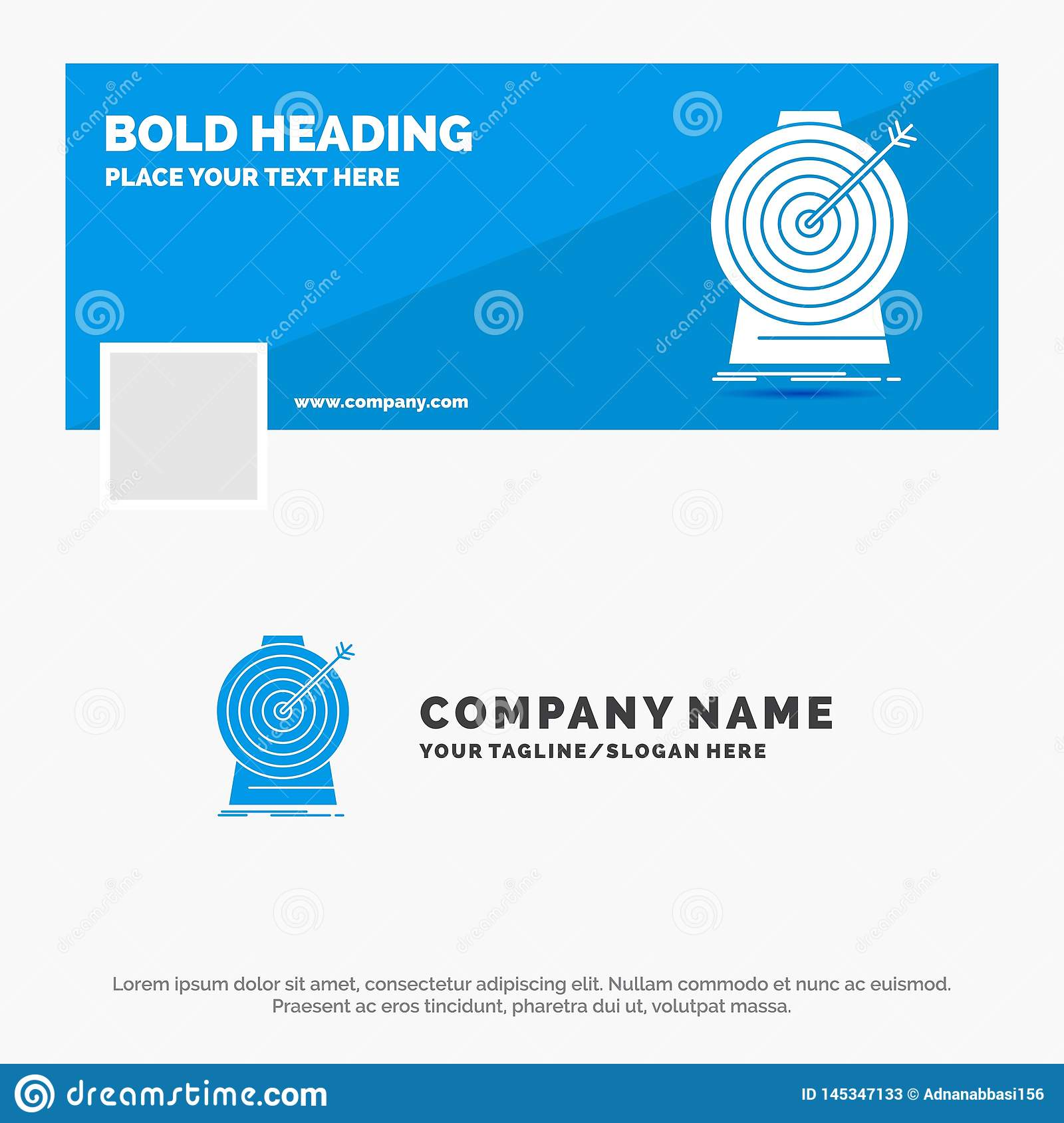 Blue Business Logo Template for Aim, focus, goal, target, targeting. Facebook Timeline Banner Design. vector web banner background