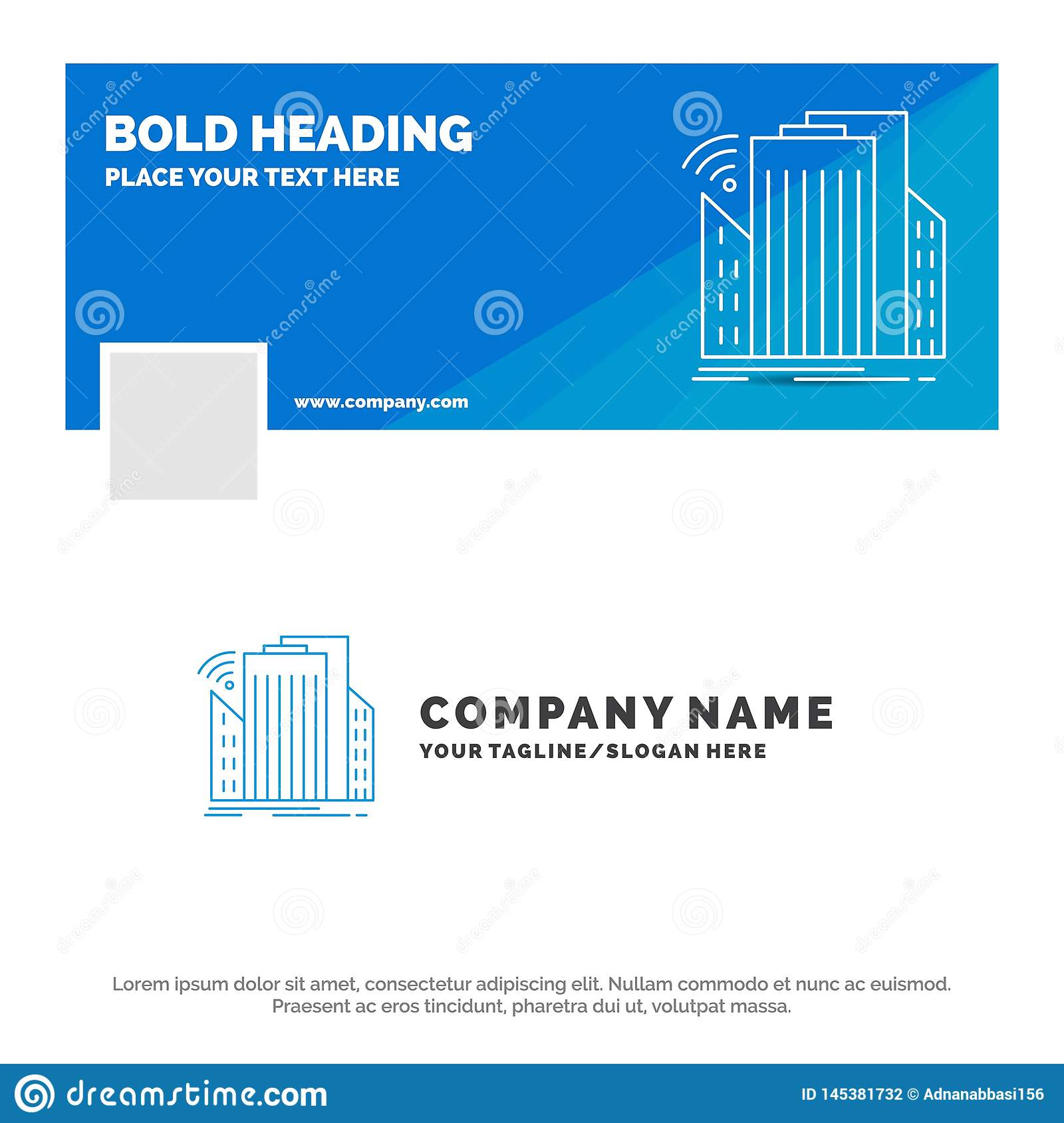 Blue Business Logo Template for Buildings, city, sensor, smart, urban. Facebook Timeline Banner Design. vector web banner