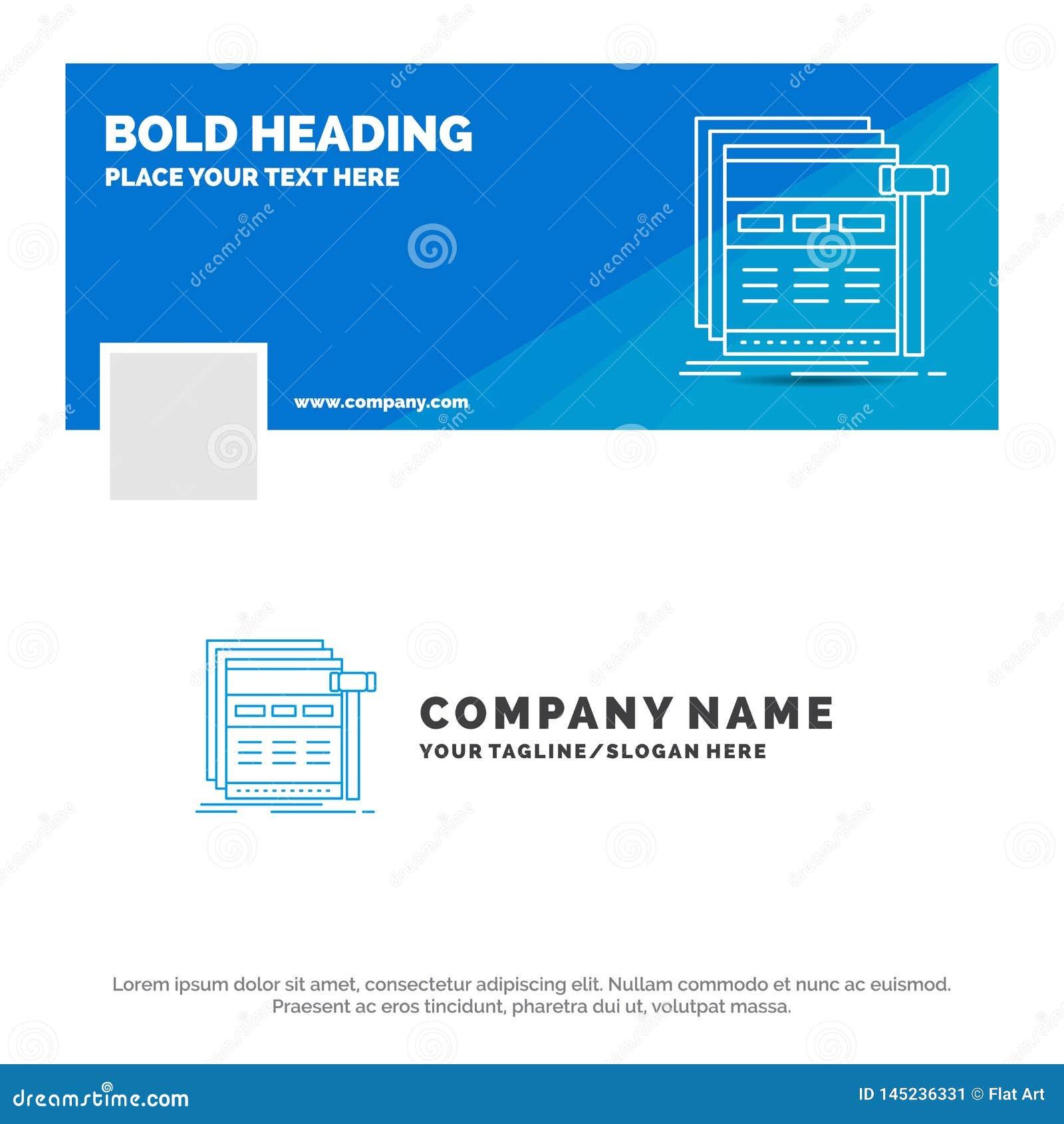 Blue Business Logo Template for Internet, page, web, webpage, wireframe. Facebook Timeline Banner Design. vector web banner