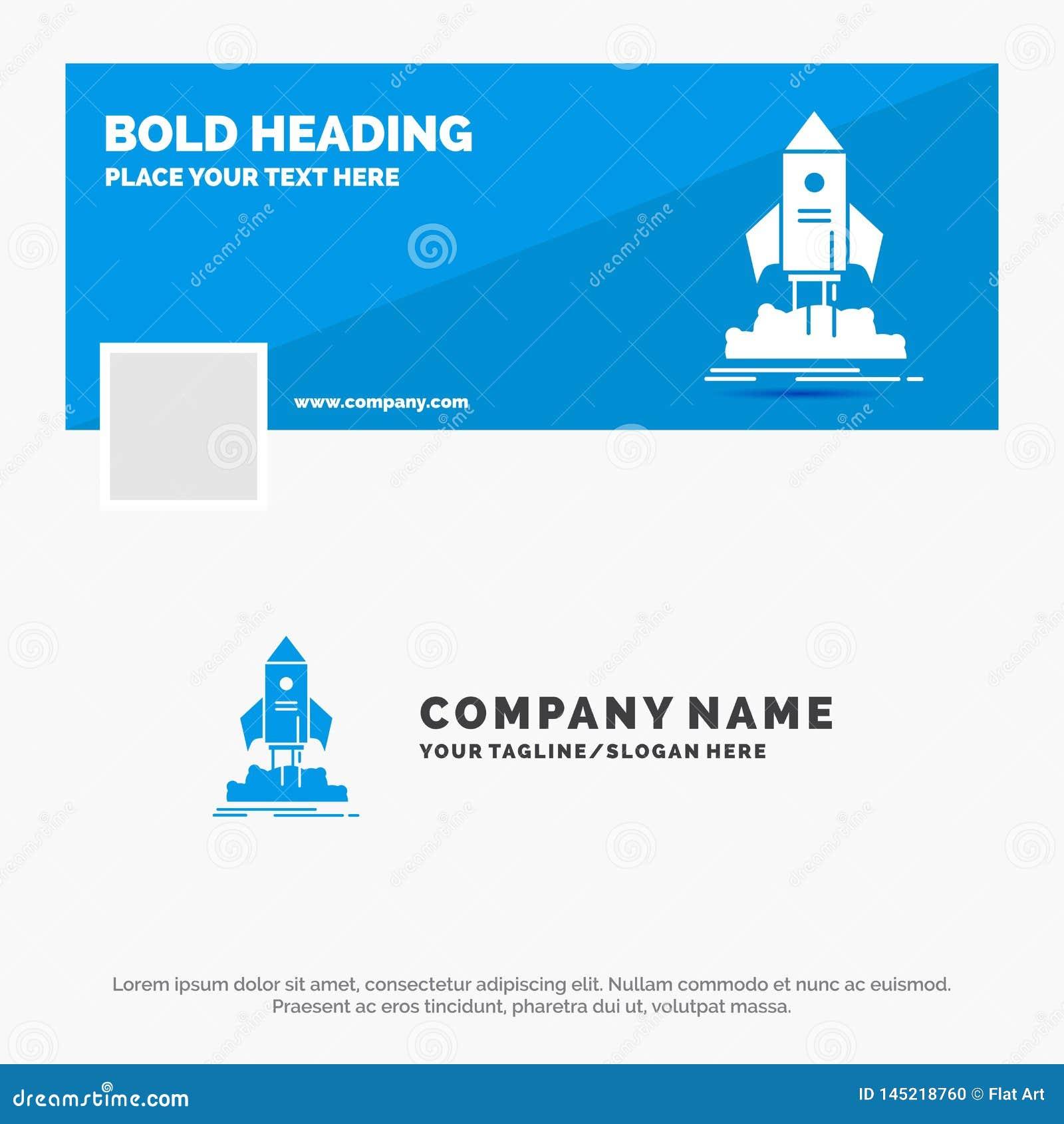 Blue Business Logo Template for launch, startup, ship, shuttle, mission. Facebook Timeline Banner Design. vector web banner