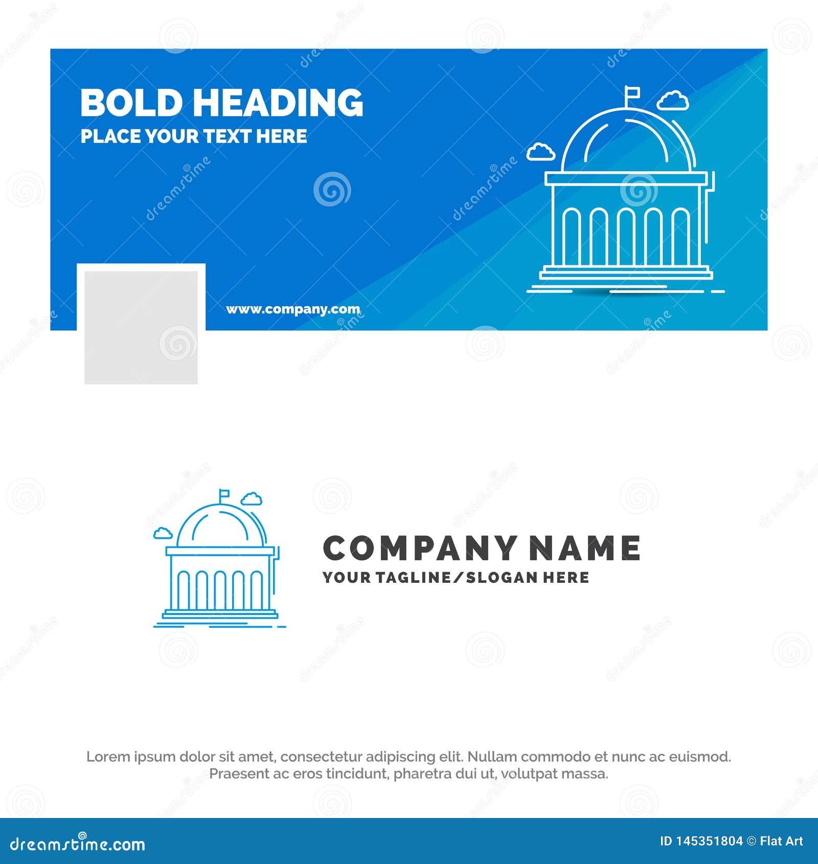 Blue Business Logo Template for Library, school, education, learning, university. Facebook Timeline Banner Design. vector web