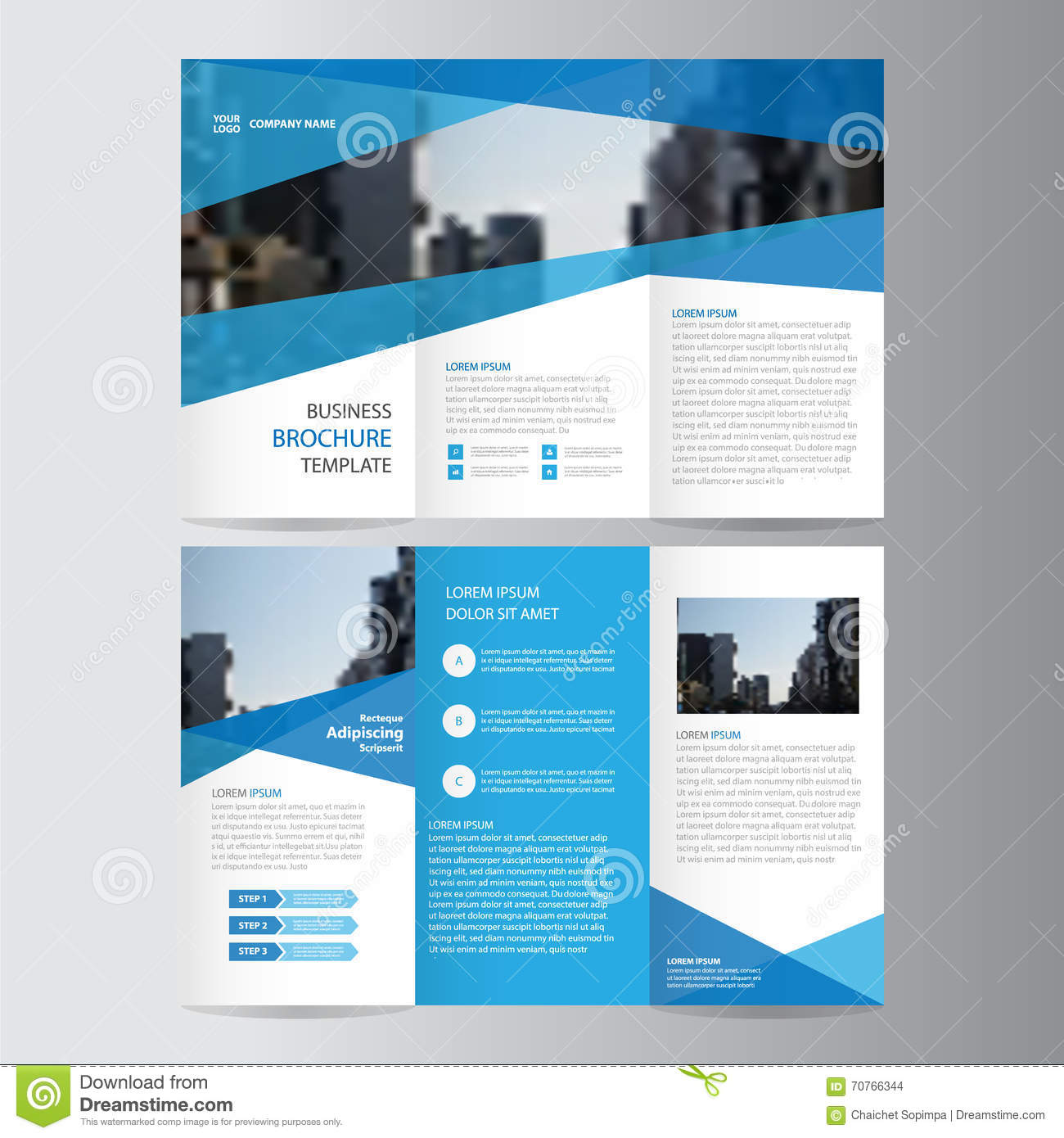 Blue business trifold leaflet brochure flyer template for Brochures design templates