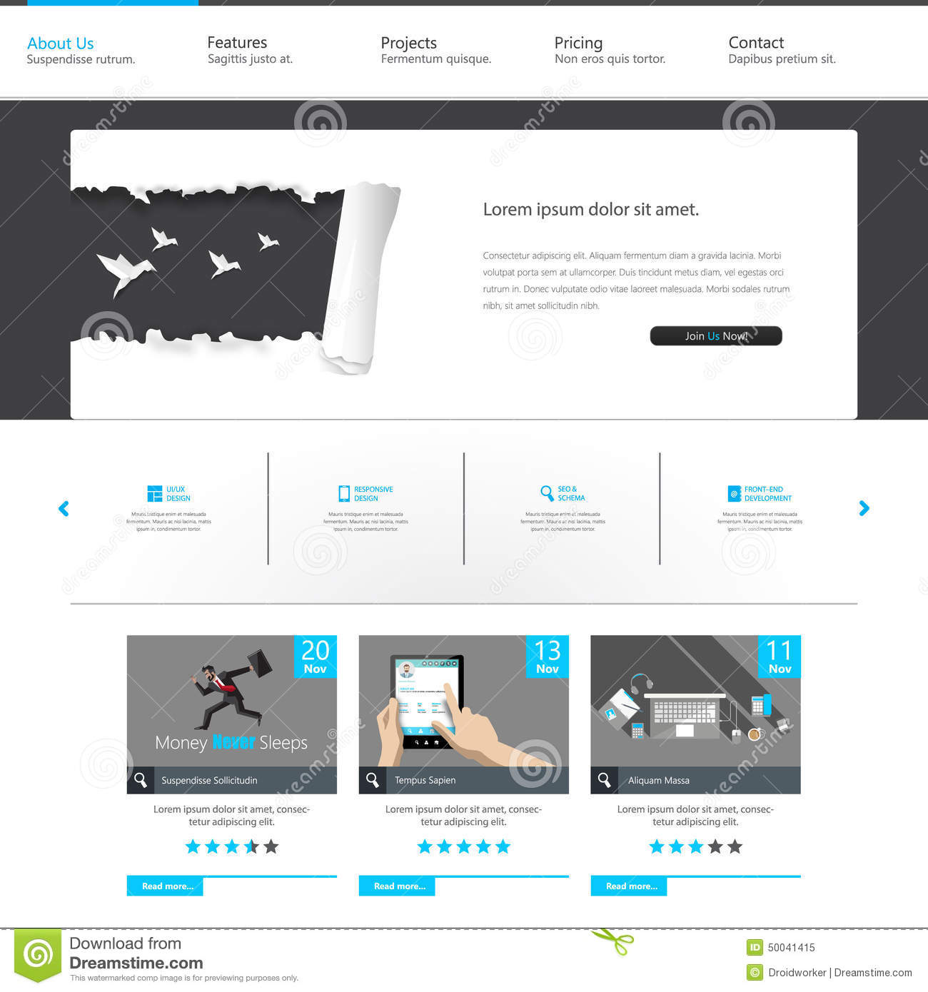 Blue business website template home page design clean for Home design website free