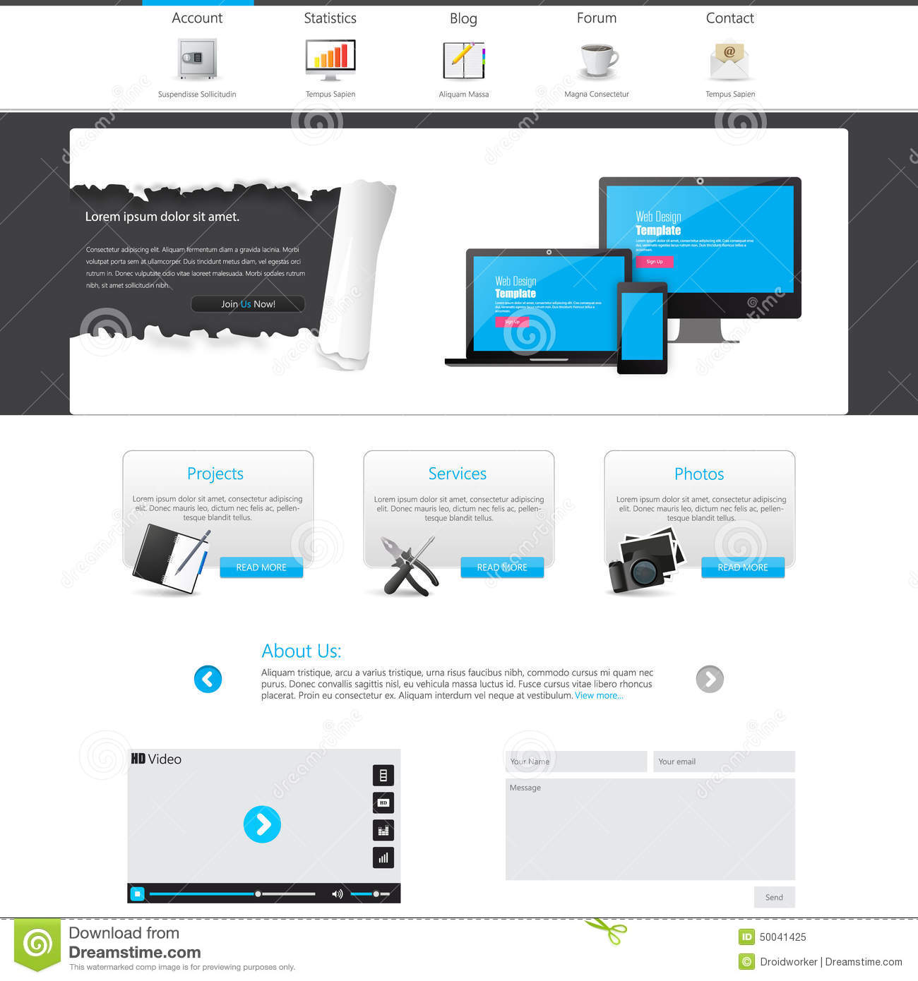 Blue business website template home page design clean and simple vector illustration stock - Website for home design ...