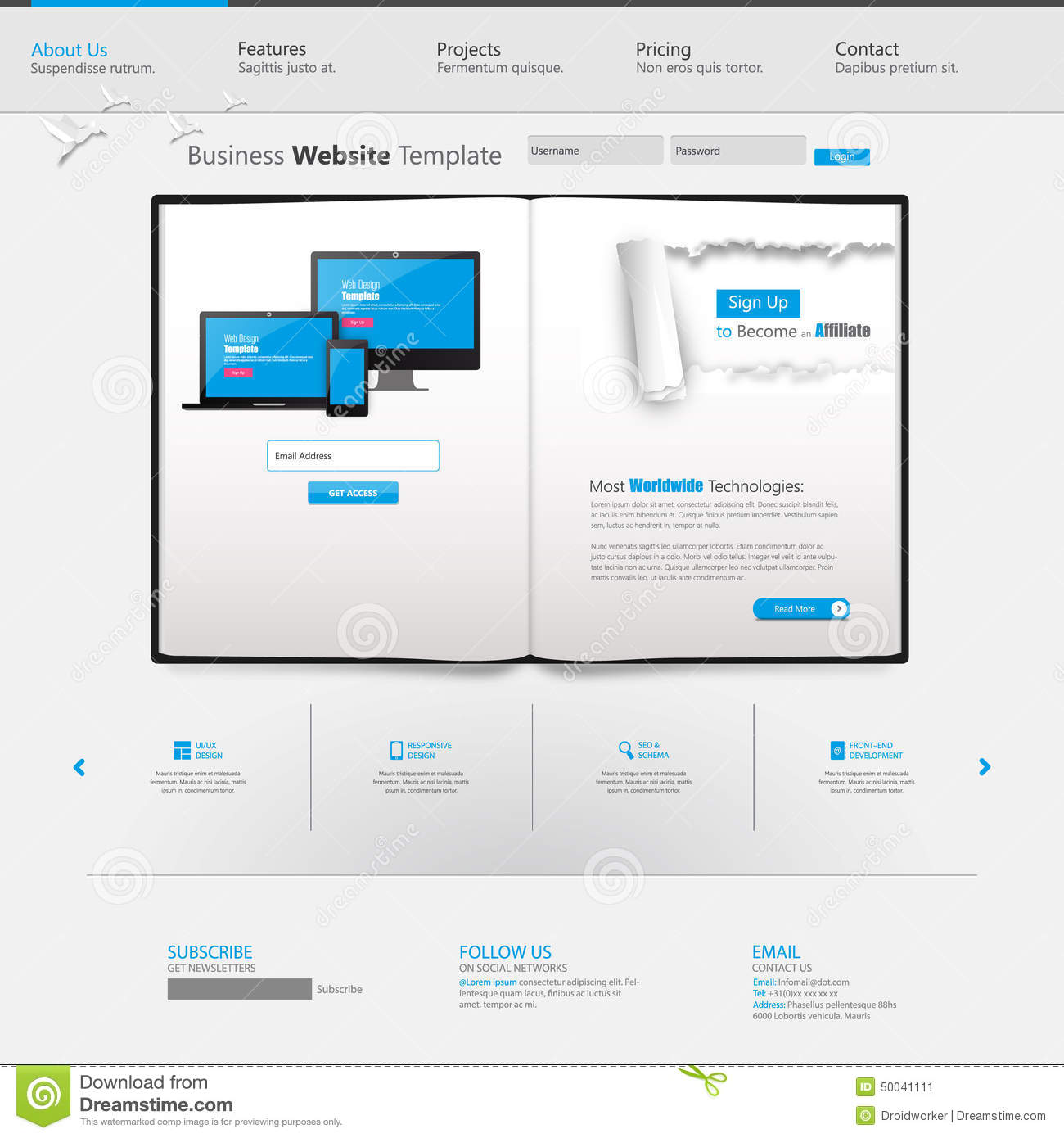 Blue business website template with ripped paper home for Www homedesigns com