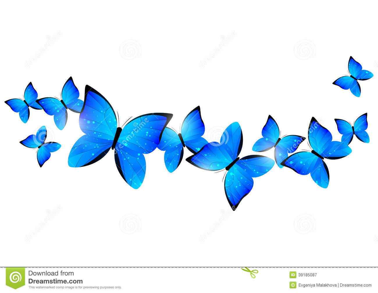 Blue butterflies border stock vector. Illustration of light - 39185087