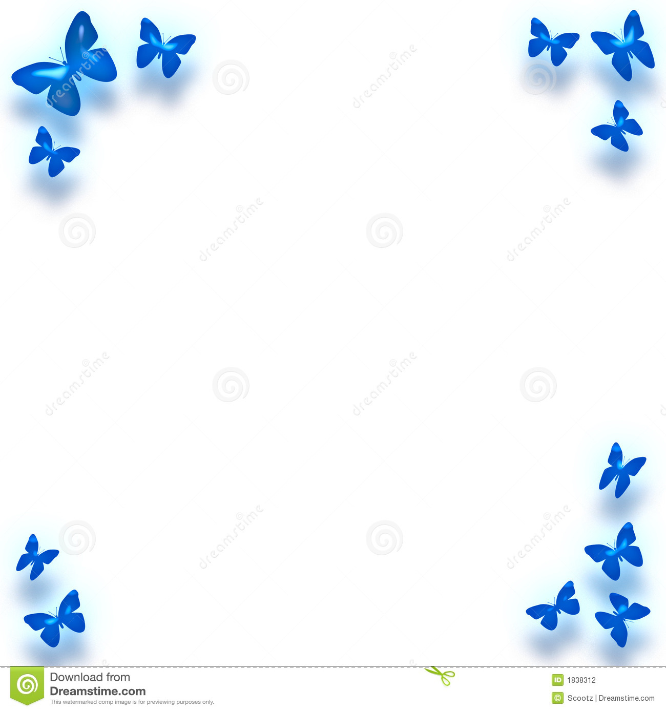 Blue butterfly border around note paper background,stationary,card.