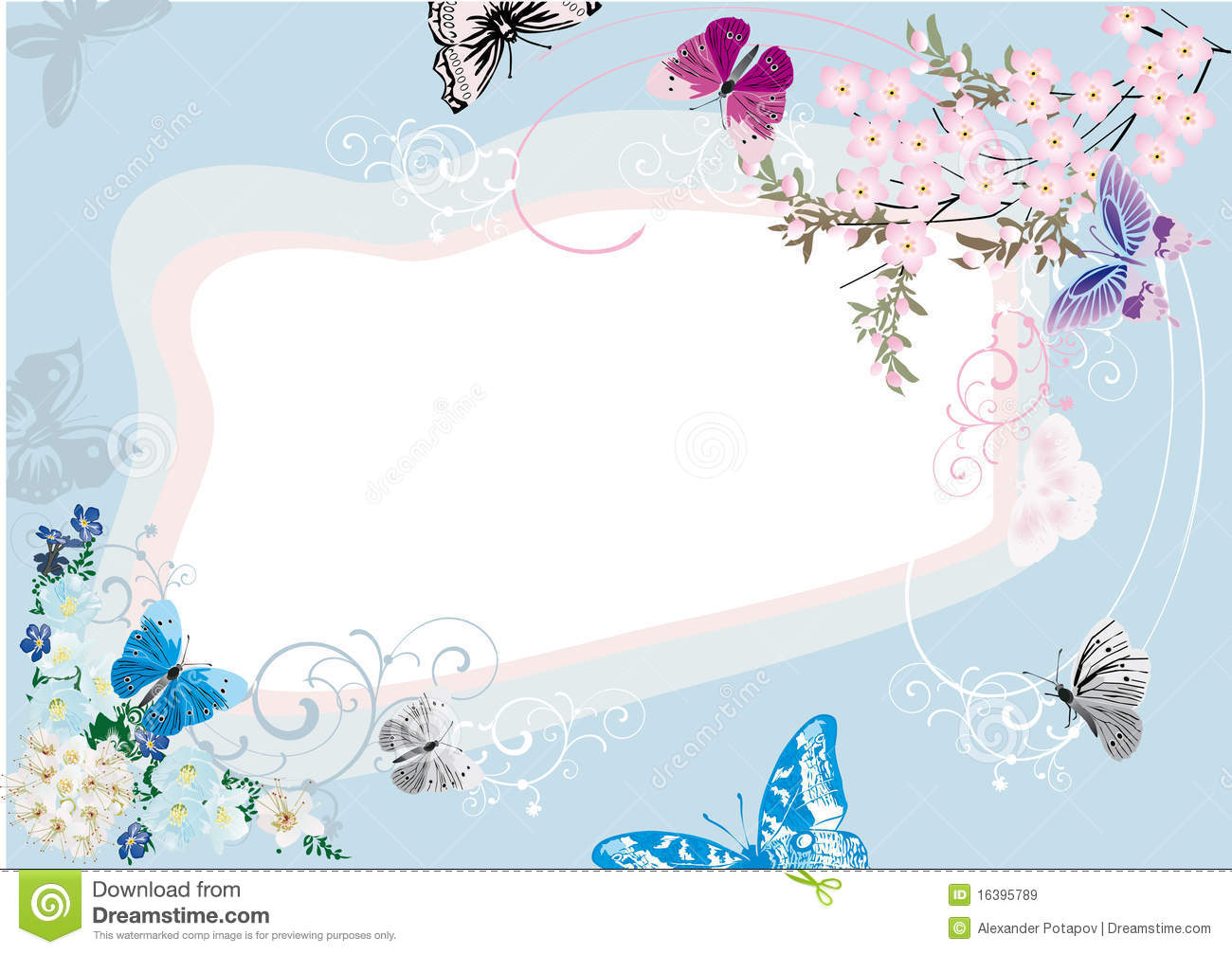 Blue Butterfly And Flower Frame Design Illustration 16395789 - Megapixl