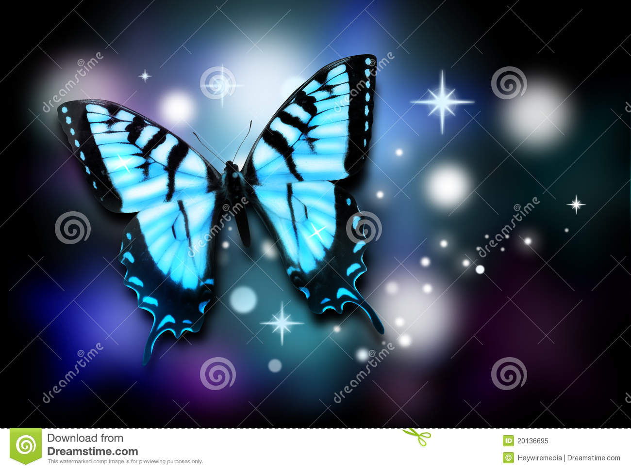 Blue Butterfly with Sparkles on Black Background
