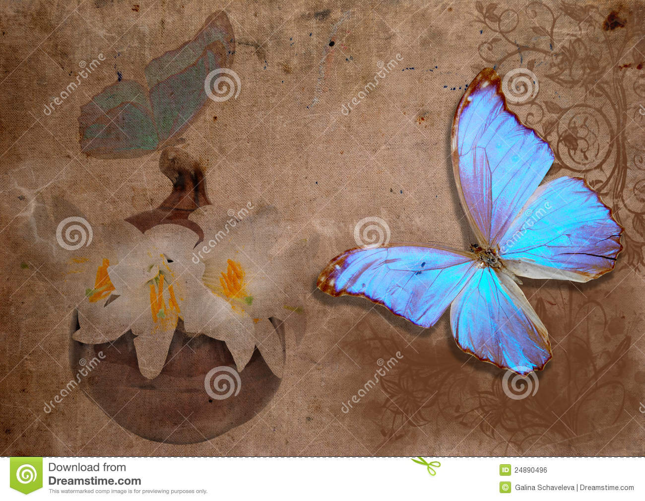 blue butterflies liliesjpg - photo #6