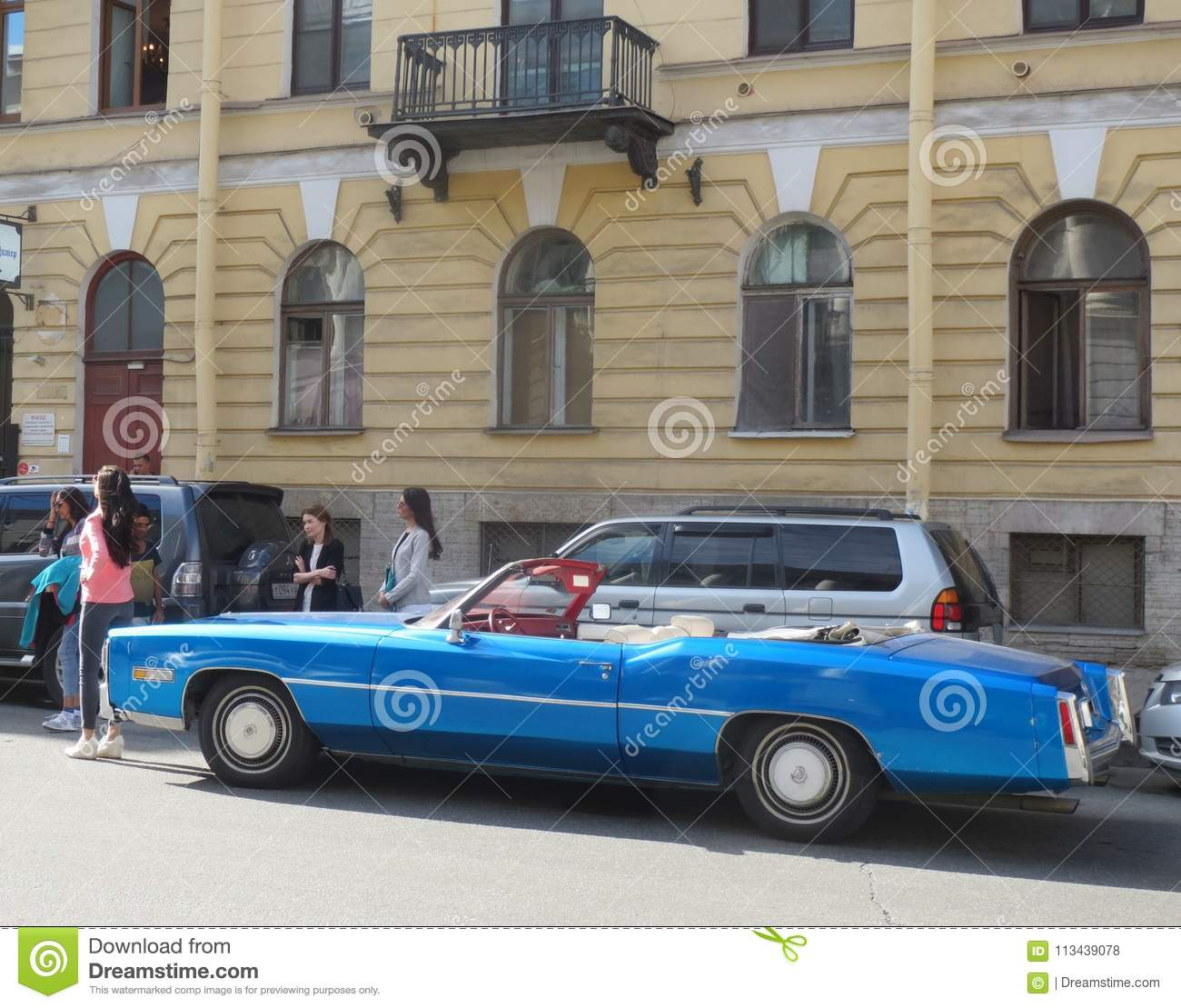 Blue Cadillac Deville Editorial Stock Photo. Image Of