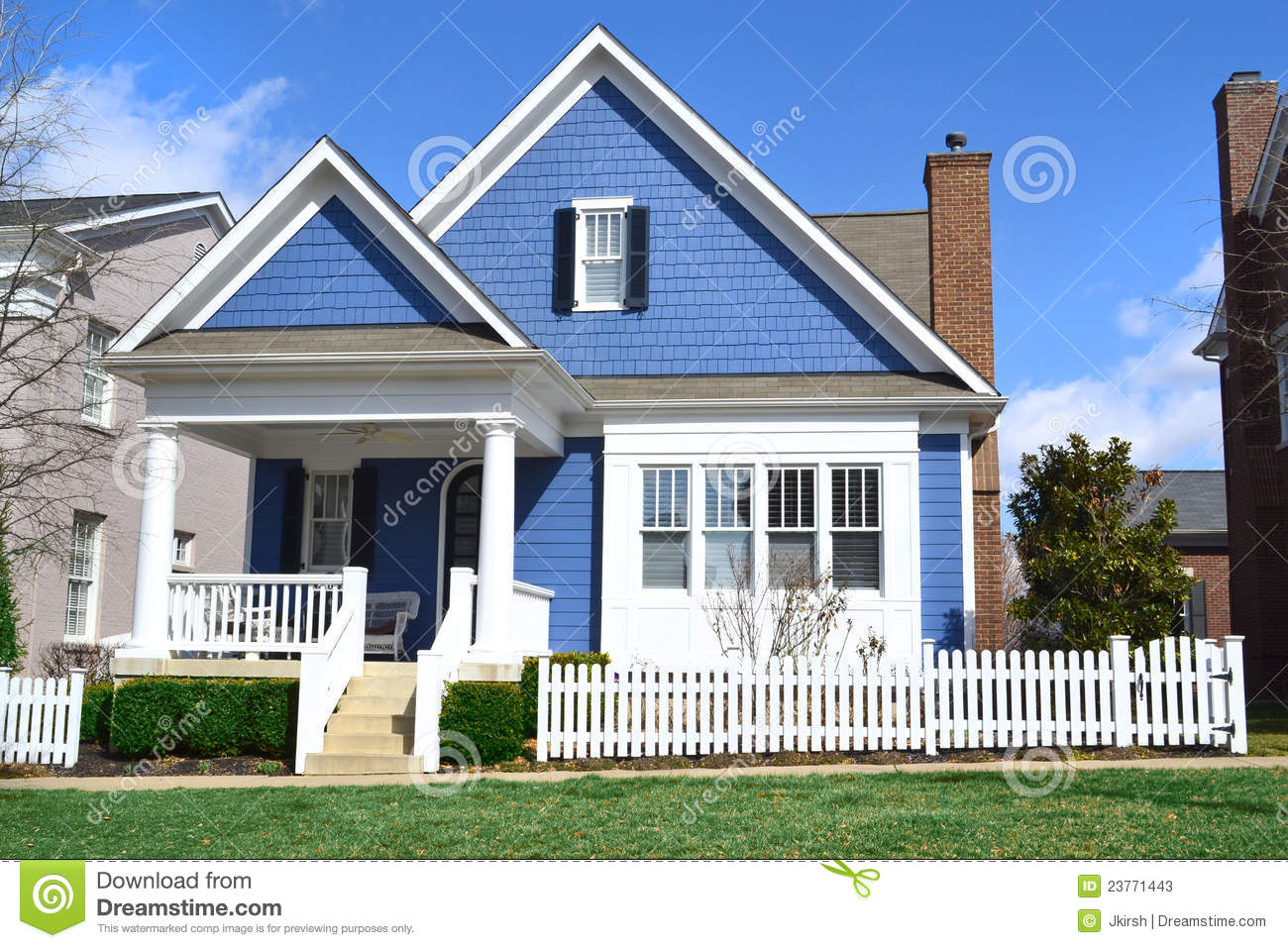 Stock Photos Blue Cape Cod Style Dream Home Image23771443 on Victorian Farmhouse House Plans