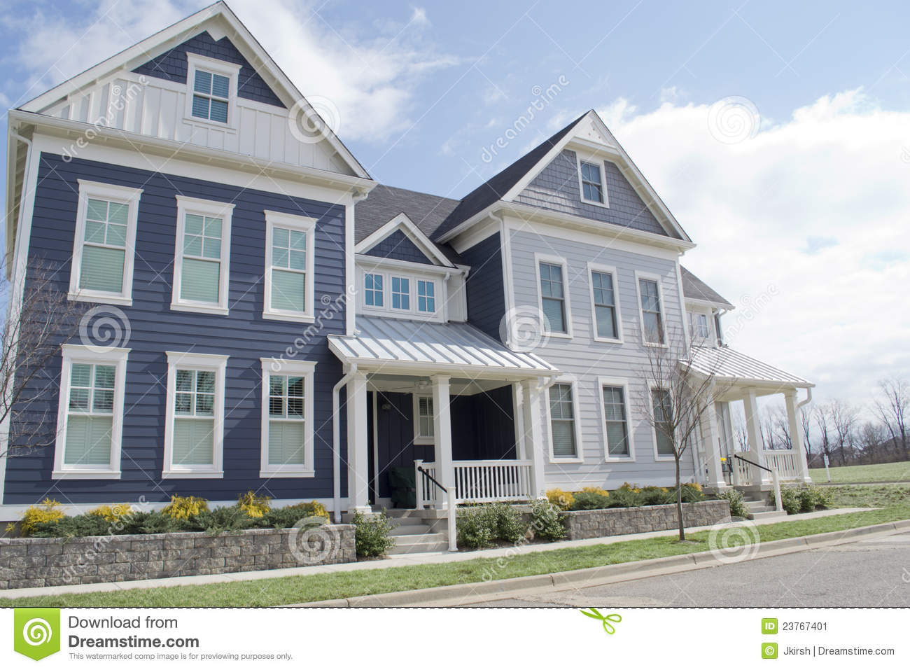 Blue Cape Cod Style Houses Stock Image Image Of Build