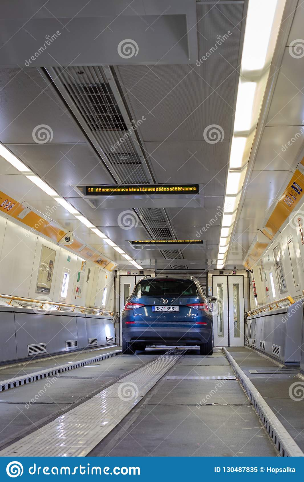 Blue Car On Board Of Eurotunnel Train Connecting The Uk And Fran