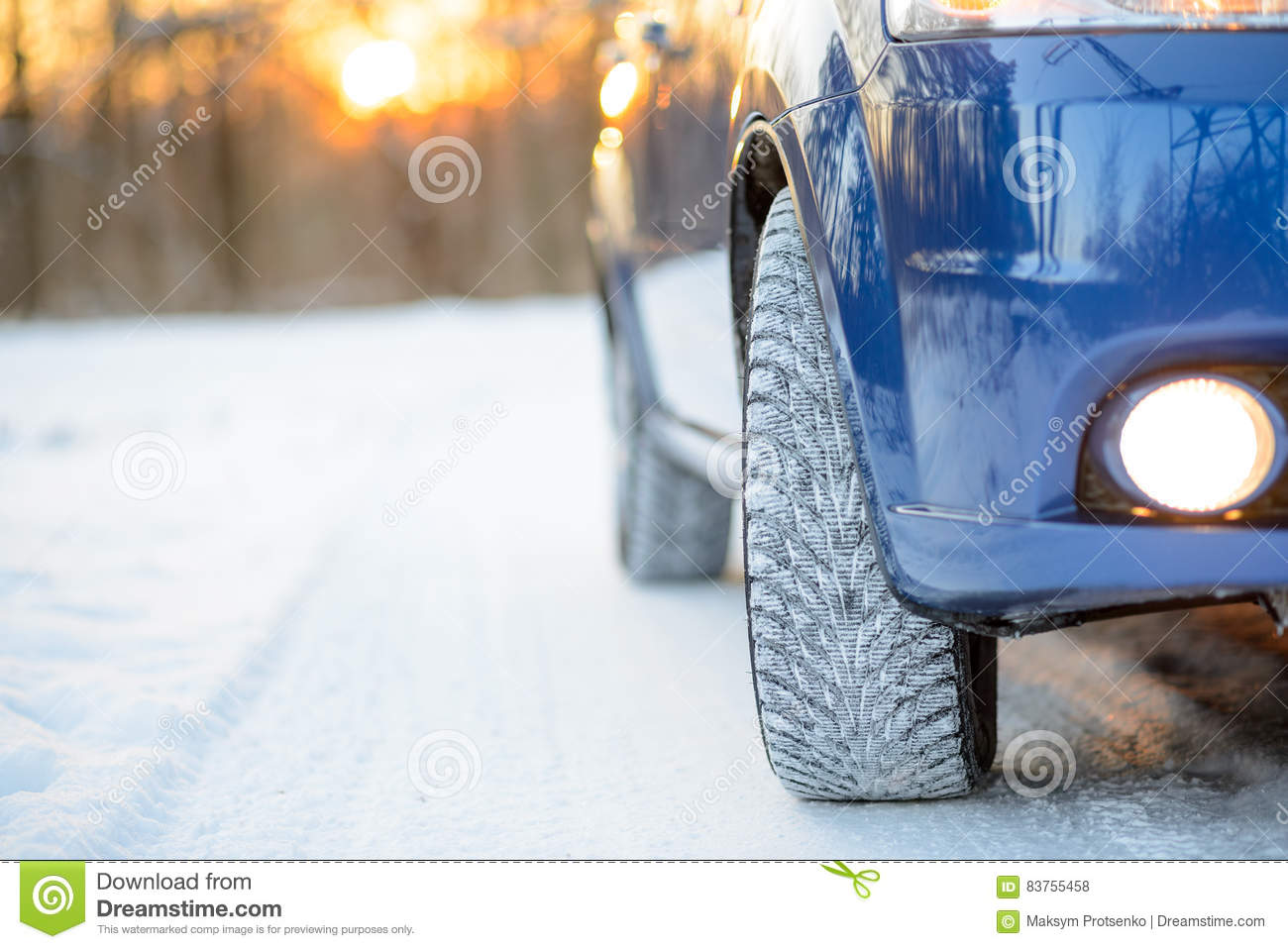 Superior Download Blue Car With Winter Tires On The Snowy Road. Drive Safe. Stock  Photo