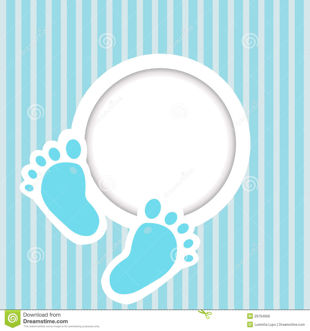 Blue Card With Baby Feet Royalty Free Stock Image Image