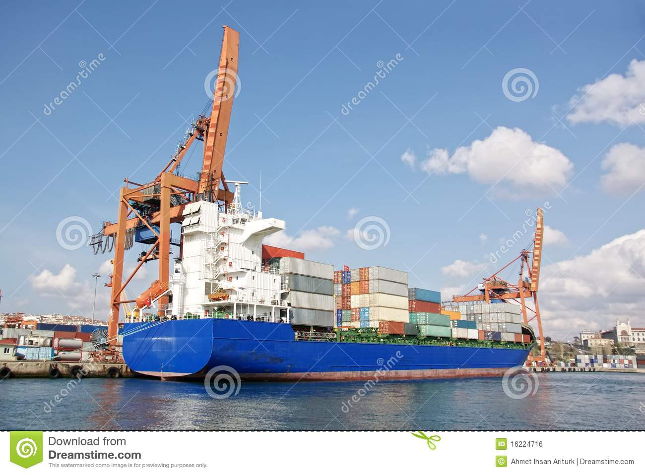 Blue Cargo Ship In Harbor Royalty Free Stock Image - Image ...