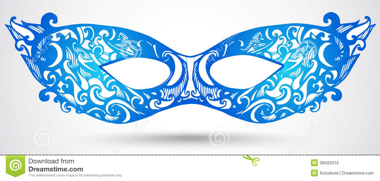 Blue Carnival Mask Illustration. Vector Design Element For ...