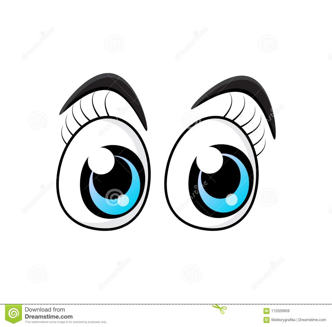 d3a60320cab Blue cartoon character eyes with eyelashes isolated on white background