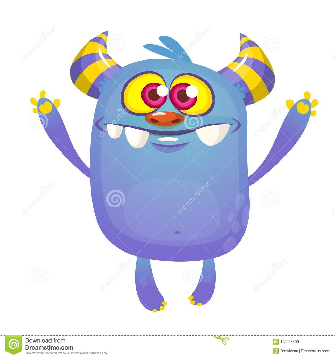 Blue Cartoon Monster With Horns Big Collection Of Cute Monsters Stock Vector Illustration Of Creature Angry 123036490