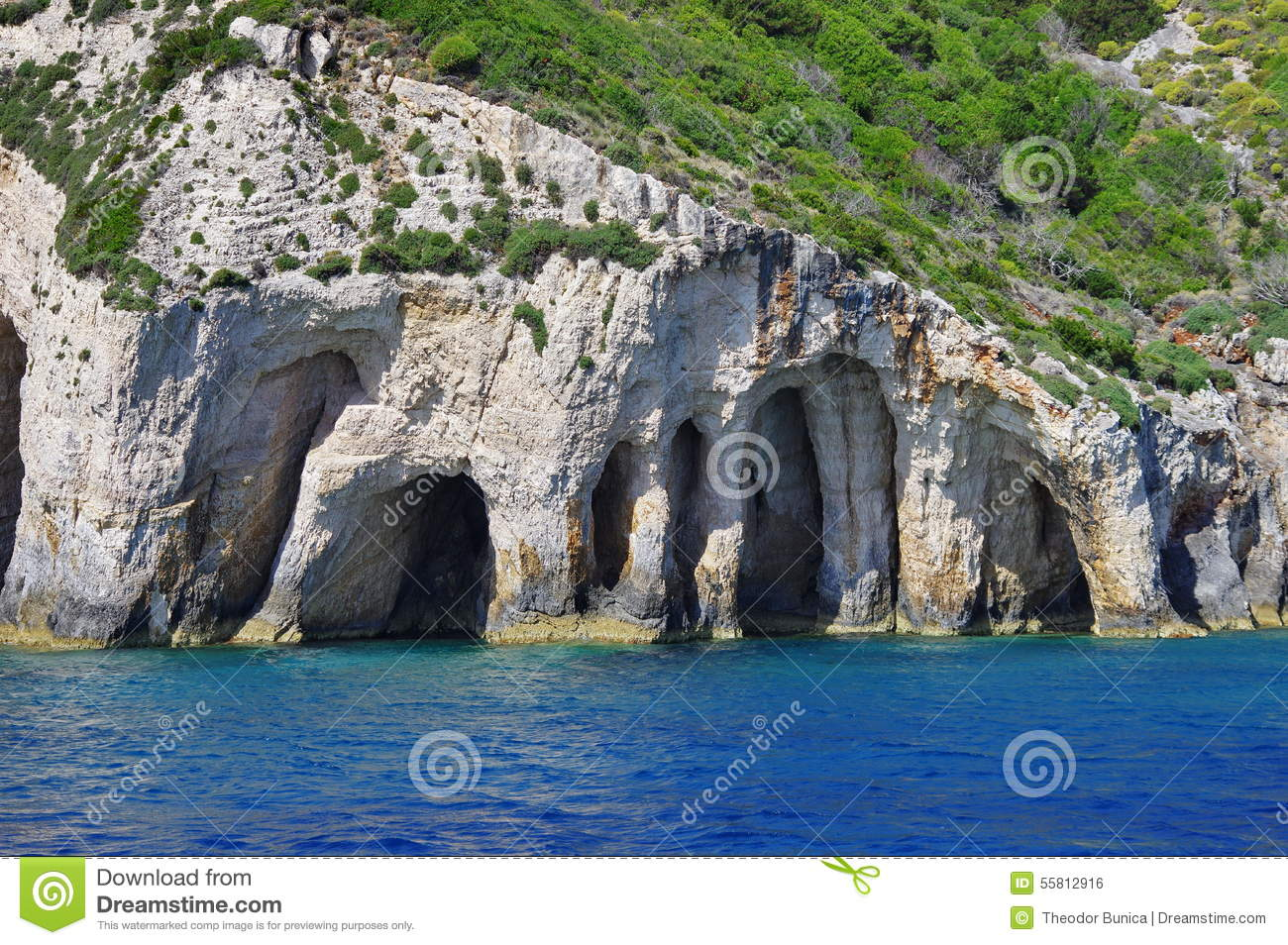 Blue Caves and Ionian Sea - Zakynthos Island, landmark attraction in Greece. Seascape