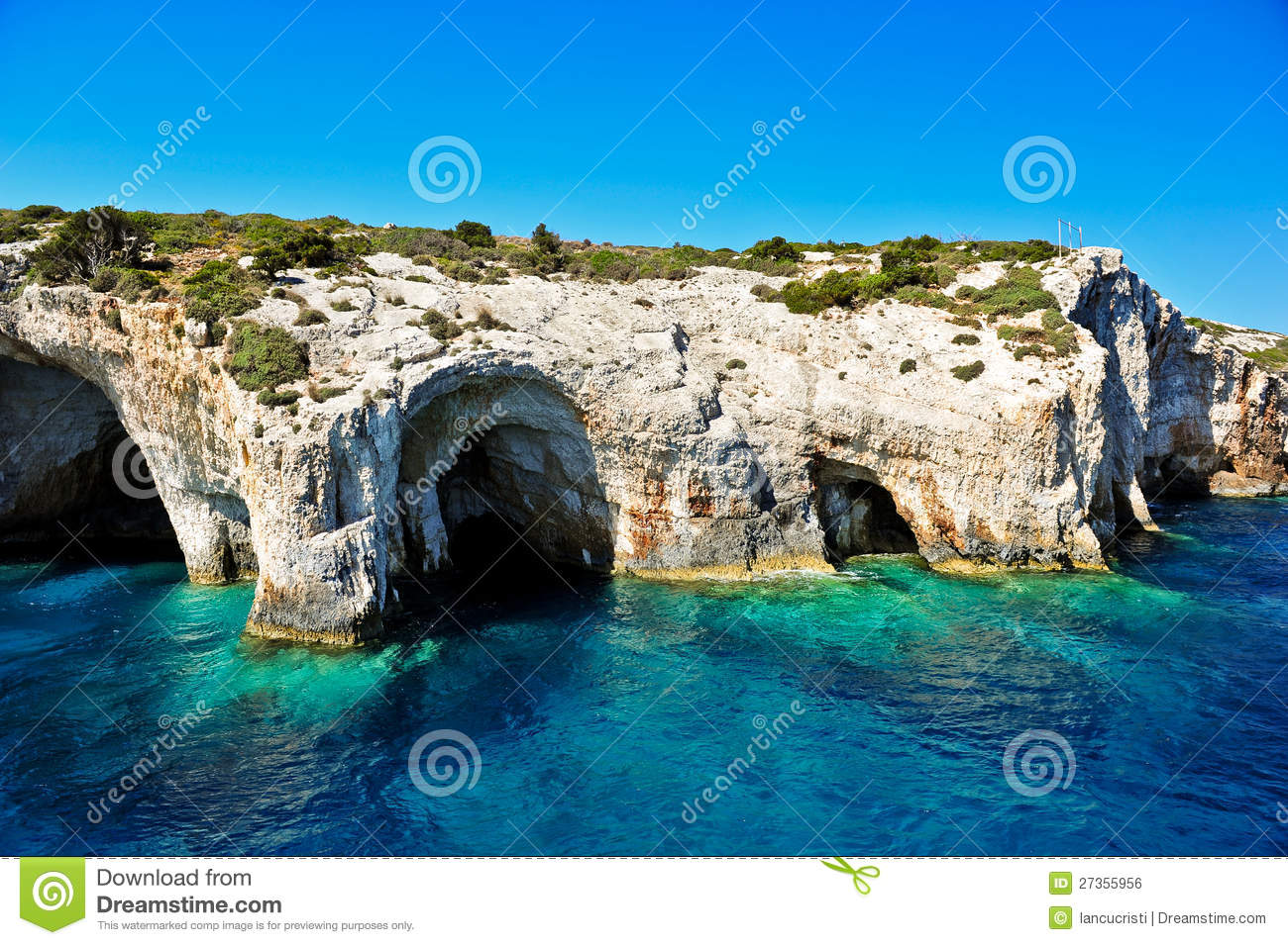 Zakynthos Island Greece  city pictures gallery : Blue caves on Zakynthos island, Greece .Famous caves with crystal ...