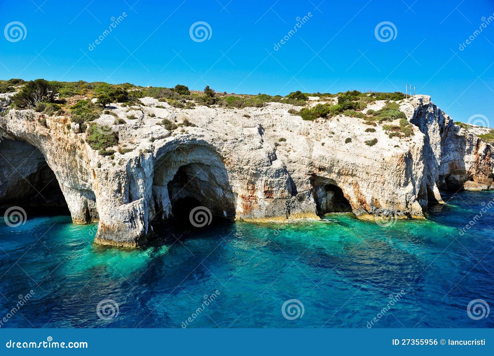 Zakynthos Island Greece  city photos gallery : Blue caves on Zakynthos island, Greece .Famous caves with crystal ...