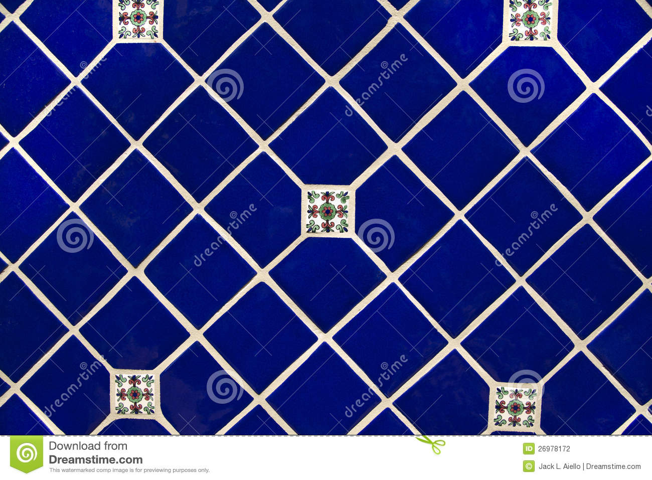 Blue Ceramic Tile Wallpaper Background Stock Photo Image