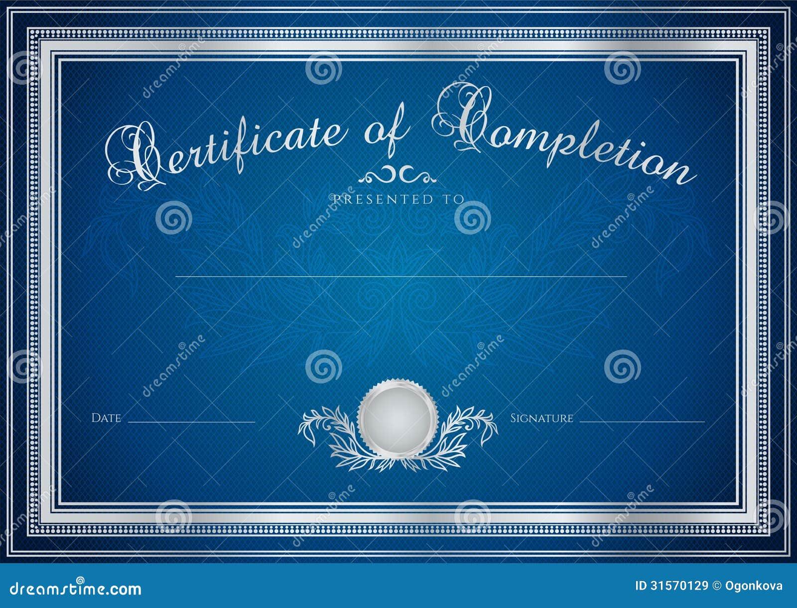 Dark blue Certificate, Diploma of completion (design template, sample ...