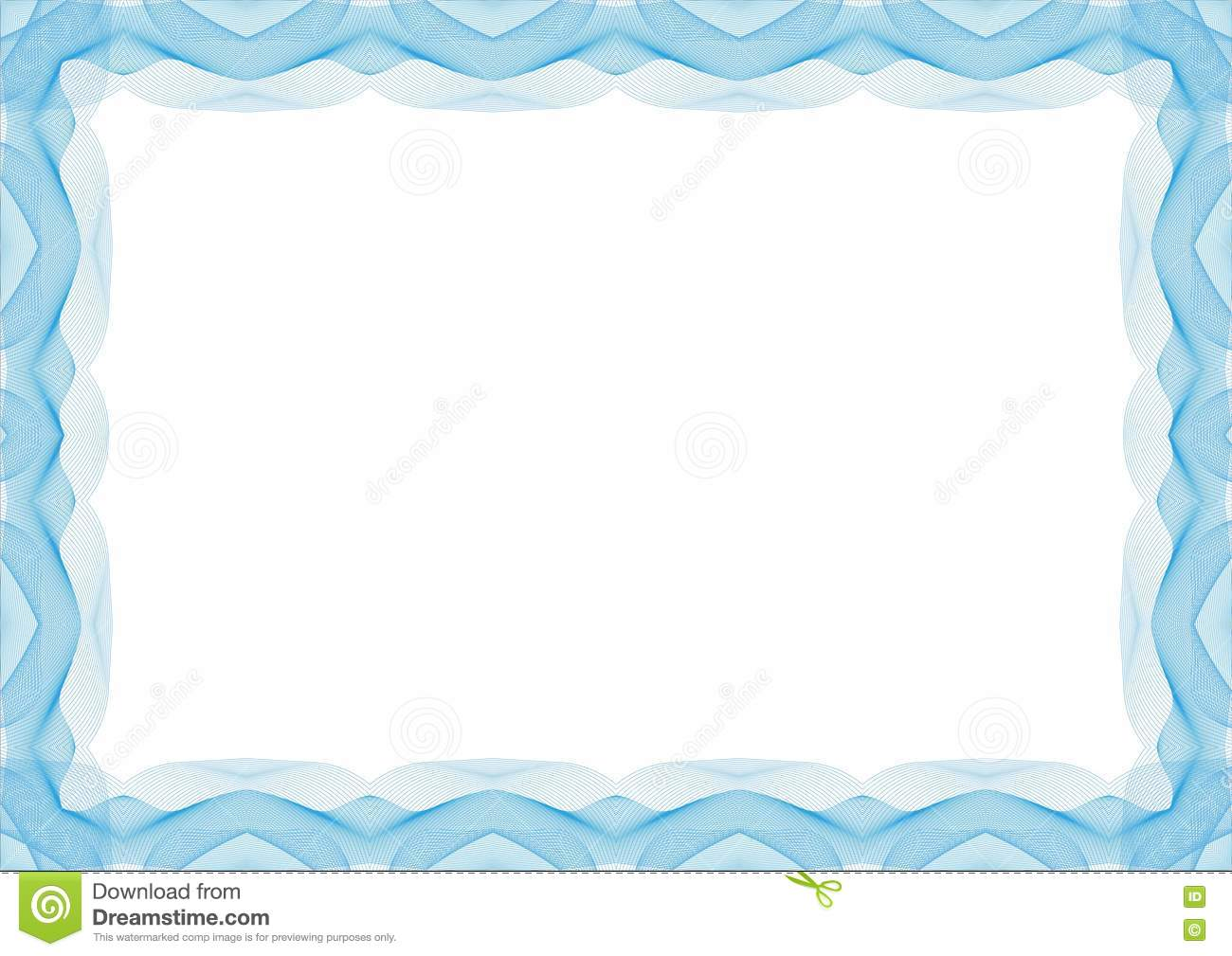 blue certificate or diploma template frame border stock vector