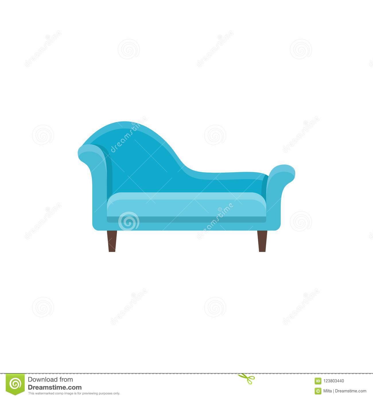 Blue Chaise Lounge Sofa Vector Illustration Flat Icon Of Settee Front View Stock Vector Illustration Of Couch Home 123803440