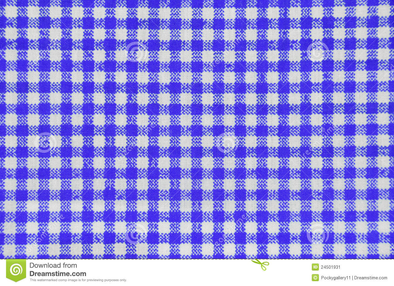 Blue Checkered Tablecloth Stock Image