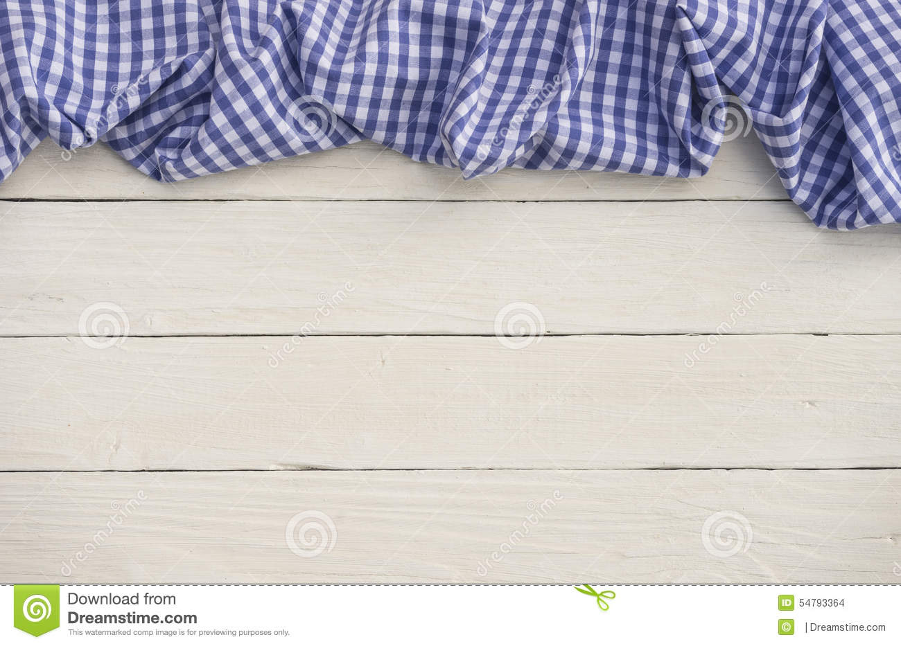 Royalty Free Stock Photo. Download Blue Checkered Tablecloth On White Wood  ...