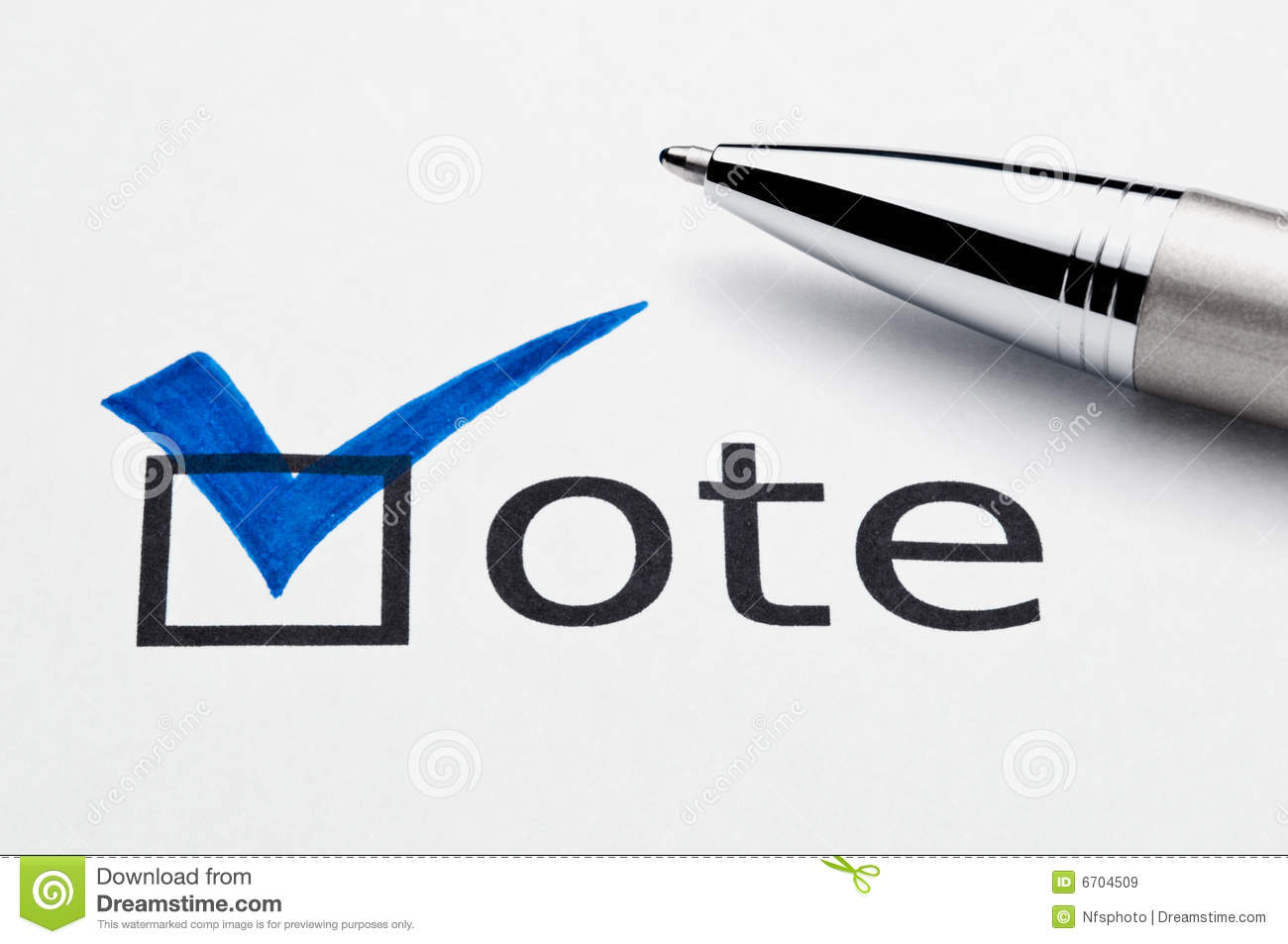 Blue Checkmark On Vote Checkbox Pen On Ballot Royalty