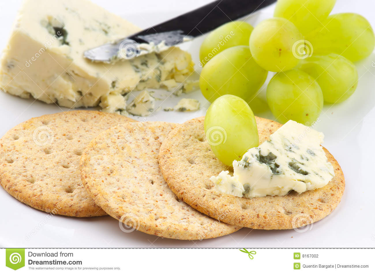 Blue Cheese Biscuits And Grapes Stock Photography - Image ...